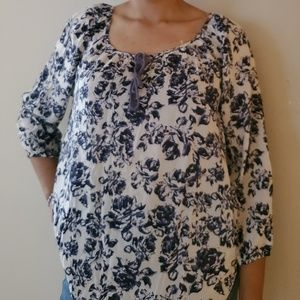 Blue and White Floral Blouse